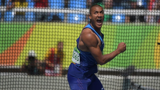 Aug 18, 2016; Rio de Janeiro, Brazil; Ashton Eaton (USA) reacts during the men's decathlon discus in the Rio 2016 Summer Olympic Games at Estadio Olimpico Joao Havelange. Mandatory Credit: Kirby Lee-USA TODAY Sports