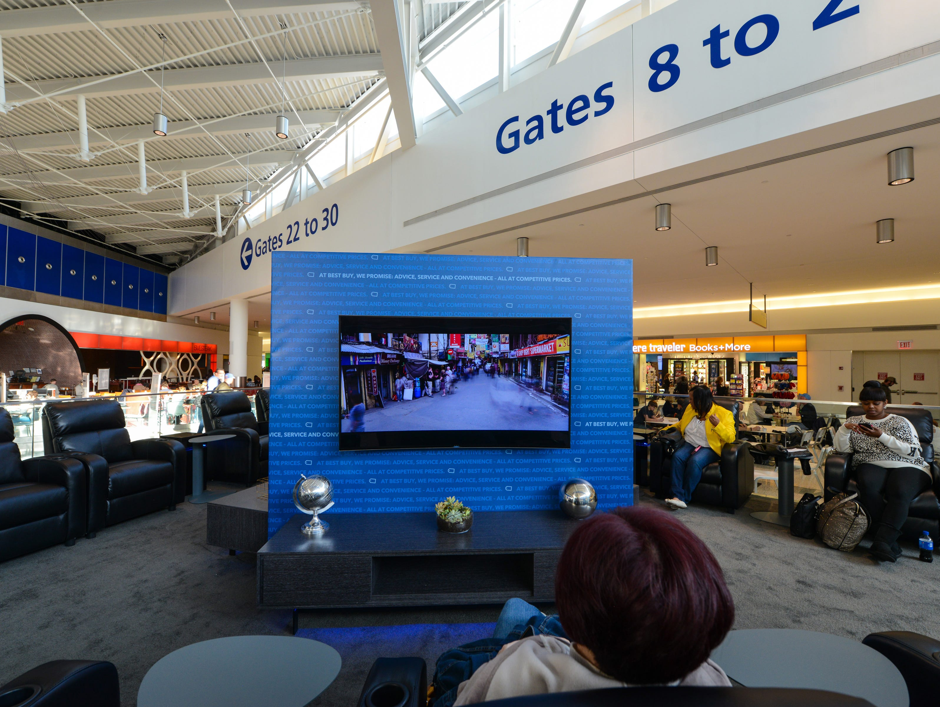 A photo of Best Buy and JetBlue's Ultra HD Lounge at JFK Airport.