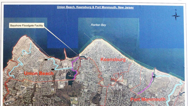 Map from the Union Beach Flood Control Project announcement in 2015.