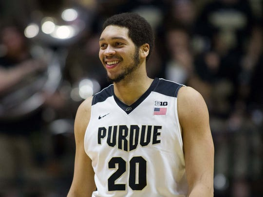Boilermakers center A.J. Hammons (20) smiles after a foul in the second half of the game against the Northwestern Wildcats at Mackey Arena.