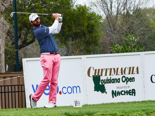Wesley Bryan hitting tee shot during the third round golf from the 2016 Chitimacha Louisiana Open Presented by NACHER at Le Triomphe Golf and Country Club. March 9, 2016.