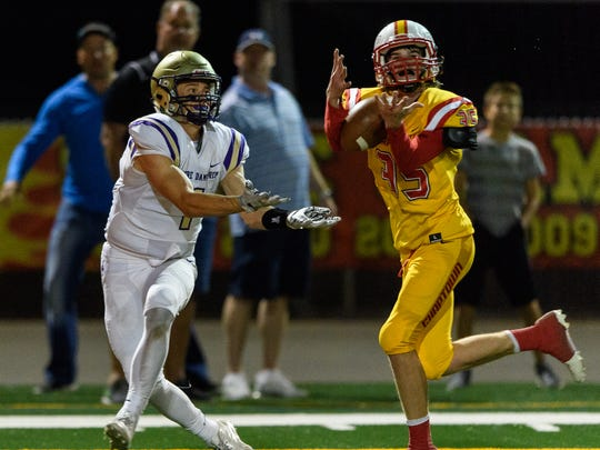Chaparral's Jack Helsten breaks up a pass intended for Notre Dame Prep's Jake Smith in the second quarter of their high school football game on Thursday, Sept. 28, 2017, at Chaparral High School in, Scottsdale Ariz.
