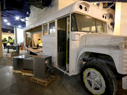 A former school bus forms the front of Timber's Taco Truck, one of the dining options at the Great Wolf Lodge in Gurnee, Illinois.