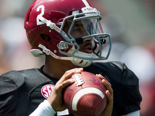 Alabama quarterback Jalen Hurts (2) during the A-Day