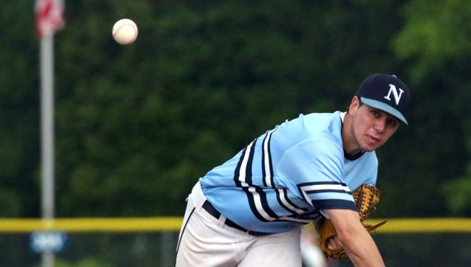Nicolet's Isaiah Glidden pitches against Whitefish Bay at Stormoth Field on June 14.