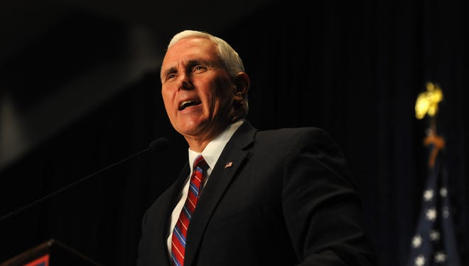 Republican candidate for Vice President Mike Pence speaks during a campaign event at the Reno-Sparks Convention Center in Reno on Oct. 20, 2016.
