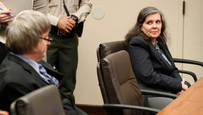 David and Louise Turpin appear in court for a conference about their case in Riverside, Calif., Friday, Feb. 23, 2018. They have pleaded not guilty to torture and other charges and each is held on $12 million bail. The couple was arrested last month after their 17-year-old daughter escaped from the family's home in Perris, California, and called 911. (Gina Ferazzi/Los Angeles Times, Pool)
