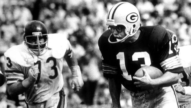 Packers kicker Chester Marcol runs for a touchdown after picking up the football on a blocked field goal against the Bears in 1980.