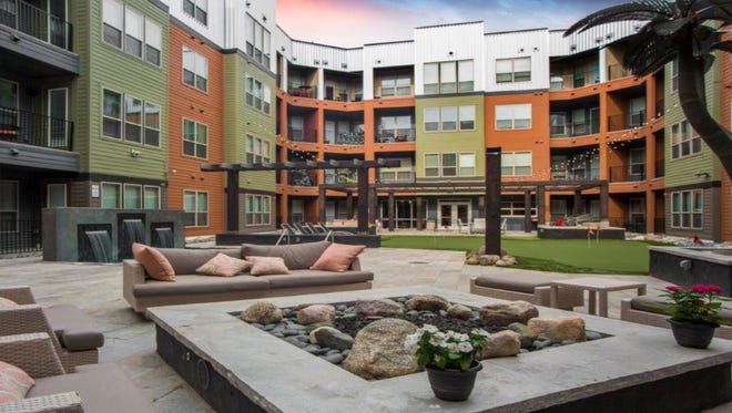 A courtyard in The Vista at the Heights apartment complex in Lansing show what courtyards might look like at Vista of Brighton, a proposed apartment complex that would be built on the Mill Pond in downtown Brighton.