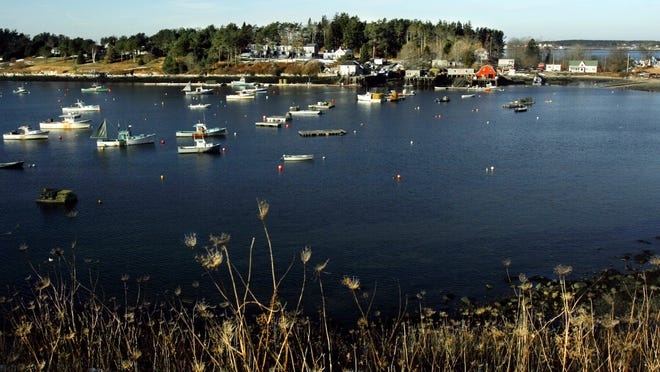 In this Dec. 21, 2005, file photo, lobster boats are tied to their moorings at Bailey Island, Maine. The state Marine Patrol says a woman has been killed in an apparent shark attack off the coast of Maine, a rare occurrence that has only been recorded once before in the state by an unprovoked shark. Marine Patrol says a witness saw the woman swimming Monday, July 27, 2020, off the shore of Bailey Island when she was injured in what appeared to be a shark attack.