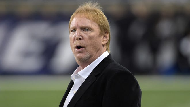 Nov 22, 2015; Detroit, MI, USA; Oakland Raiders owner Mark Davis looks on prior to the game against the Detroit Lions at Ford Field. Mandatory Credit: Kirby Lee-USA TODAY Sports