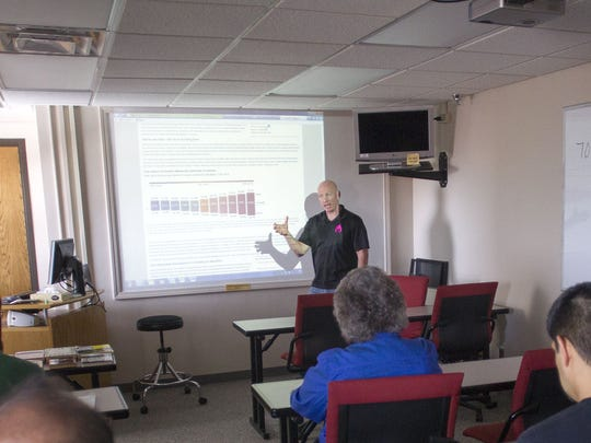 UNI graduate Mike Finley leads a personal finance and asset allocation class at the University of Iowa General Hospital on April 15. Finley will be hosting a financial literacy test on April 29, and top scorers will receive part of a $100,000 prize pot.