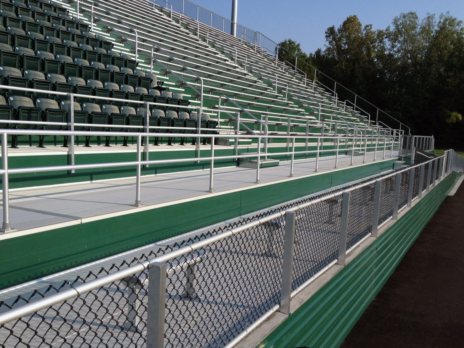 Bleachers similar to these installed in Mayfield, Ohio, will replace 50-year-old bleachers on the home side at Fairfield High School's stadium.