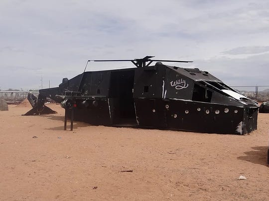 The helicopter on the Desert Warriors Paintball field.