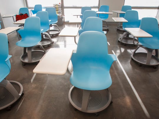 Equipment at all four campuses is state-of-the-art. These node chairs at the Ventura campus are on casters, and the table can pivot to accommodate right- or left-handed students.