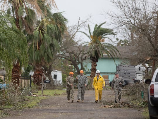Members of the Texas National Guard on Sunday, Aug.