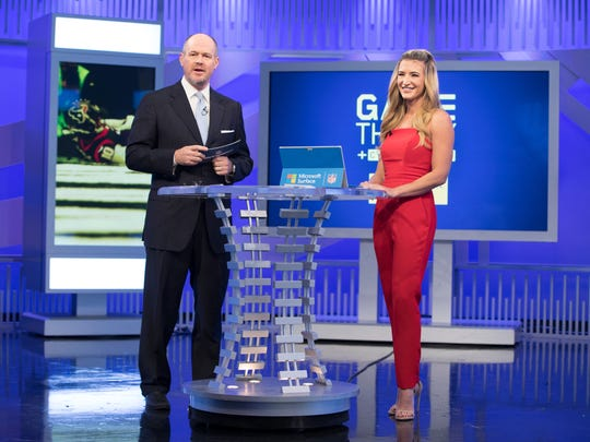 Rich Eisen, left, Cynthia Frelund on the NFL Network