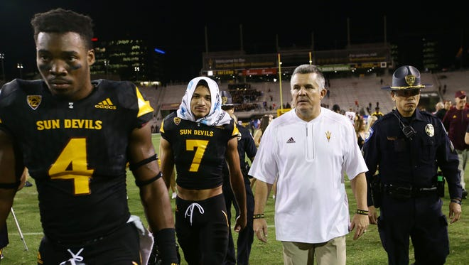 Arizona State head coach Todd Graham heads for the locker room after losing to Utah 49-26 on Thursday, Nov. 10, 2016 in Tempe, Ariz.