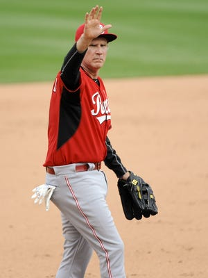 Will Ferrell played third base for the Reds in Thursday's Cactus League exhibition against the Diamondbacks.