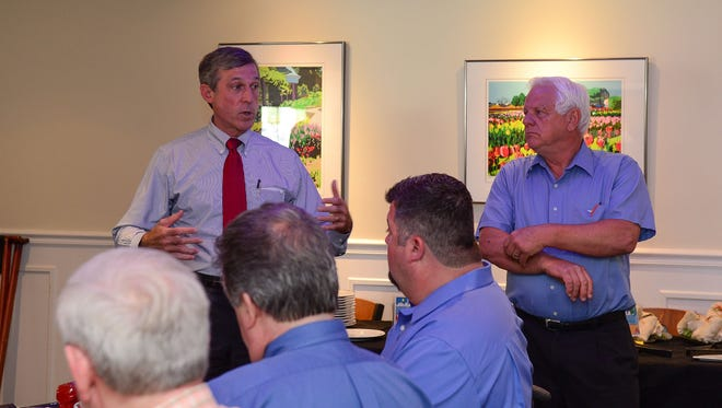 Delaware Governor John Carney and Senator Gerald Hocker met with local small business owners to hear their concerns on Wednesday, August 16, 2017 at the Cottage Cafe in Bethany Beach, Del.