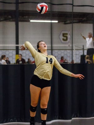 Franklin junior Brianna Merkel (14) serves during a match against West Bend West in the Mizuno Charger Rally at the Milwaukee Sting Center on Saturday, Sept. 16, 2017.