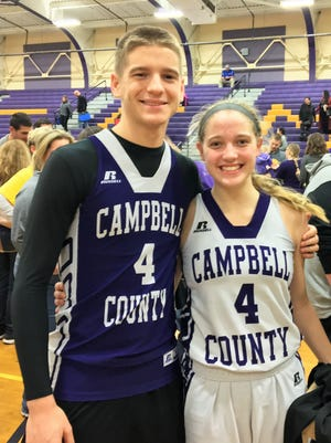 Campbell County senior twins Tanner and Taylor Clos. Tanner wore his sister's jersey 4 for the 37th District girls championship. His number is 21.