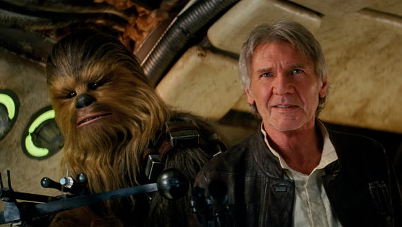 Chewbacca (Peter Mayhew) and Han Solo (Harrison Ford)