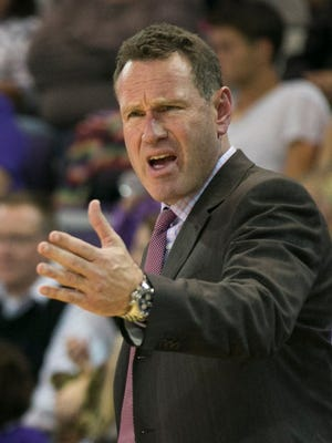 GCU's head coach Dan Majerle yells to his team during  a game against Montana State at Grand Canyon University in Phoenix on Nov. 17, 2014.