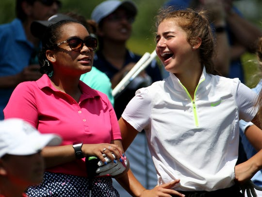 Rochester area high school golfers like Vanessa Fulmore of Aquinas, left, and Lena Kaufman of Pittsford Sutherland, right, got a chance to play in Danielle Downey Pro-Am at Brook-Lea Country Club as well as a long drive and closest to the pin contest.