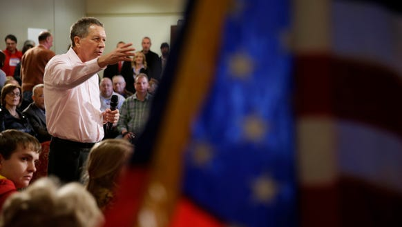 John Kasich speaks during a campaign stop at the National