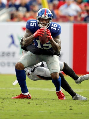 Brandon Marshall caught just 18 passes last year in his lone season with the New York Giants.