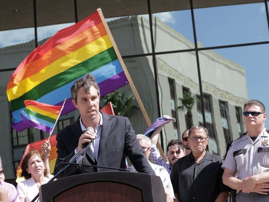 U.S. Rep. Beto O'Rourke, D-Texas, joined El Paso community leaders and elected officials as they stood in solidarity with those affected by the mass killing in Orlando. Fifty people were killed and 53 injured at the gay nightclub Pulse on Sunday morning. See more photos at elpasotimes.com.