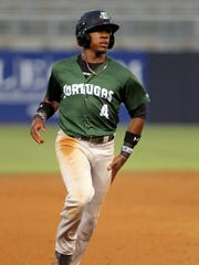 TAMPA, FL - APRIL 28: Shed Long of the Tortugas hustles over to third base during the Florida State League game between the Daytona Tortugas and the Tampa Yankees on April 28, 2017, at Steinbrenner Field in Tampa, FL. (Photo by Cliff Welch/Icon Sportswire) (Icon Sportswire via AP Images)