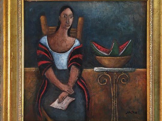 """""""La Carta,"""" a 1996 work by Mauricio Mora, is part of the """"Retro Retablo"""" exhibit at the Hal Marcus Gallery."""
