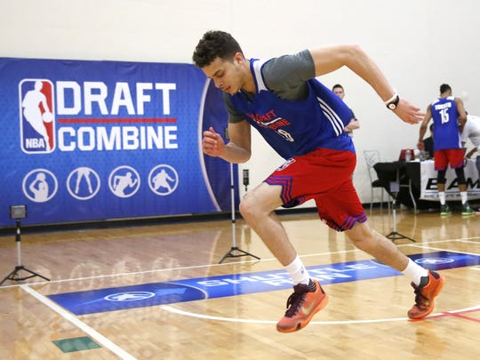 Georgia State's R.J. Hunter participates in the NBA draft basketball combine Thursday, May 14, 2015, in Chicago.