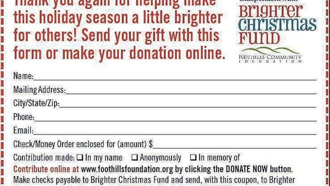 Brighter Christmas Fund donation coupon.