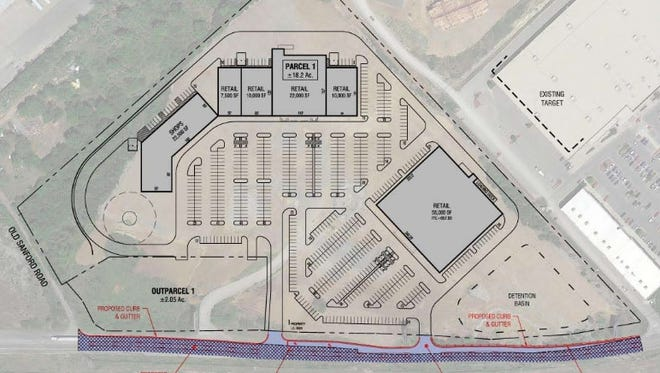 An aerial rendering of the proposed retail development.
