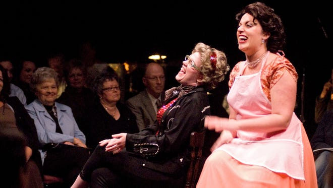 "Jennifer Enskat, left, as Louise Seger and Kelly Knowlton as Patsy Cline star in ""Always ... Patsy Cline."""
