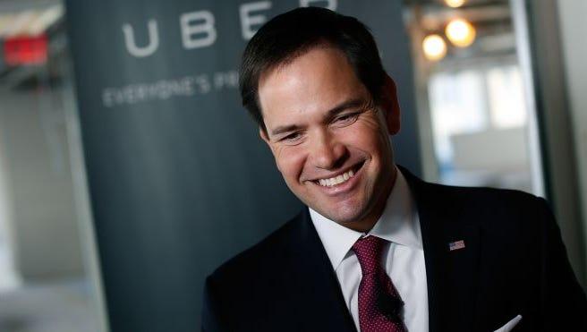 U.S. Sen. Marco Rubio of Florida speaks at Uber's headquarters March 23, 2014 in Washington, DC.