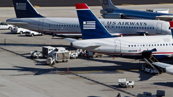 American Airlines and US Airways planes at Phoenix
