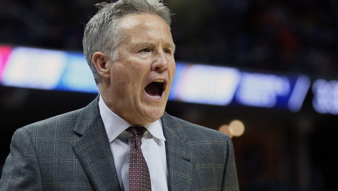 Philadelphia 76ers head coach Brett Brown reacts during the fourth quarter against the Memphis Grizzlies at FedExForum. The Grizzlies won 105-101. Mandatory Credit: Nelson Chenault-USA TODAY Sports