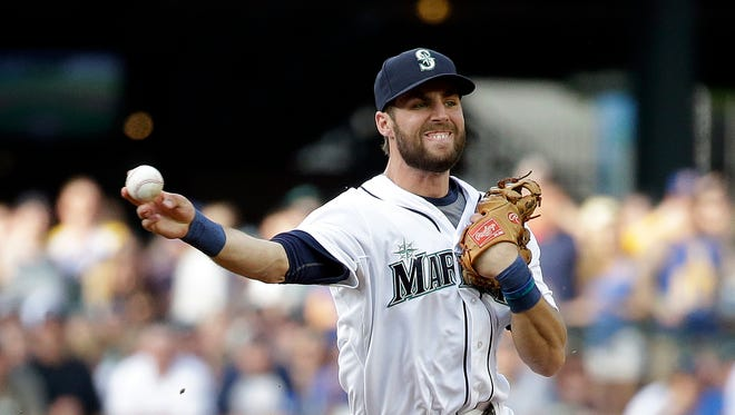 Seattle Mariners shortstop Chris Taylor in action against the Oakland Athletics in a baseball game Saturday, May 9, 2015, in Seattle.