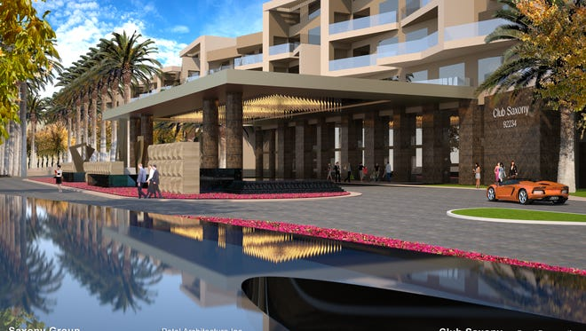 An architect's sketch of the front view of a 312-room hotel planned for downtown Cathedral City by the Saxony Group.