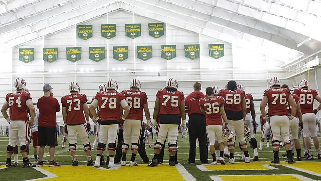 The Wisconsin Badgers practice inside the Don Hutson Center in Ashwaubenon on Saturday, April 2, 2016.