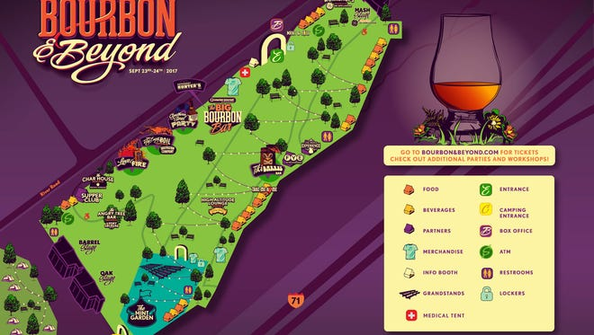 Festival map for Bourbon & Beyond.