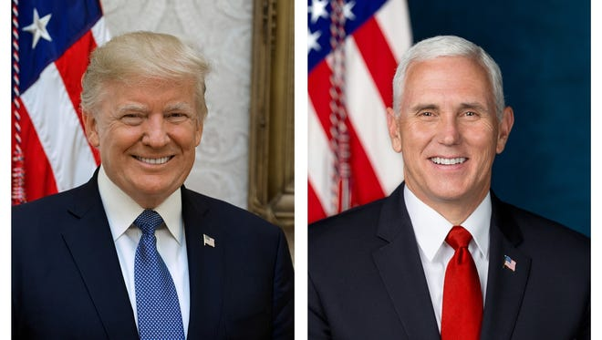 These photos released by The White House, Tuesday, Oct. 31, 2017, are the official portraits of President Donald Trump and Vice President Mike Pence. (White House via AP)