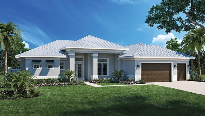 An artist's conception of the Key Largo, a new Florida Lifestyle Homes design at Naples Reserve.