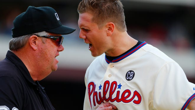 Jonathan Papelbon argues with umpire Joe West after Papelbon was ejected.
