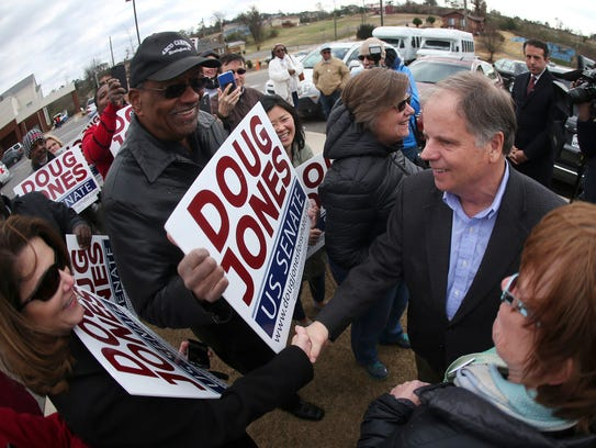 Doug Jones outside Bethal Baptist Church, Dec. 12,