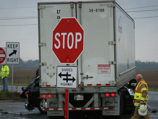 Around 7:10 a.m. Wednesday an SUV crashed into a semi-trailer
